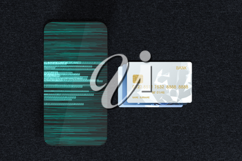Bank cards and mobile phone with digital numbers, 3d rendering. Computer digital drawing.