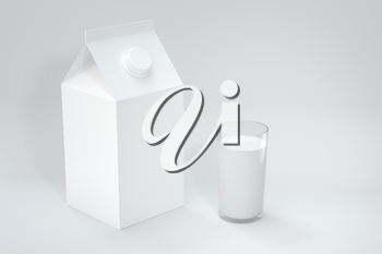 Milk box and a cup of milk, 3d rendering. Computer digital drawing.