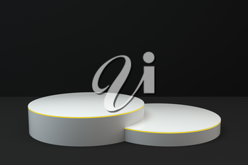Empty round showcase, product presentation background, 3d rendering. Computer digital drawing.