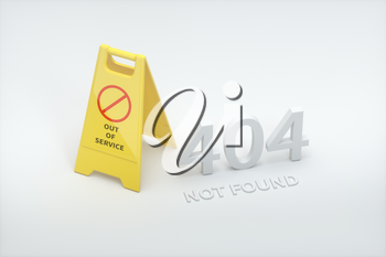 404 error page with yellow floor sign aside, 3d rendering. Computer digital drawing.