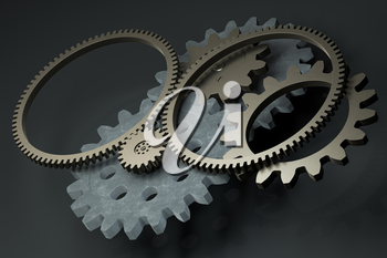 Industrial gear,mechanical structure,3d rendering. Computer digital drawing.