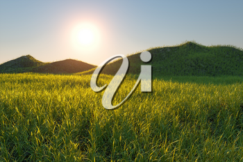 Grass field and mountains with bright background,3d rendering. Computer digital drawing.