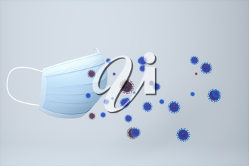 Mask and virus with white background,3d rendering. Computer digital drawing.