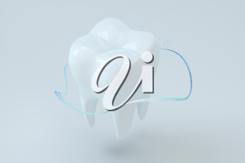 White tooth with blue gradient particles surrounded, 3d rendering. Computer digital drawing.