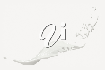 Splashing milk with white background, 3d rendering. Computer digital drawing.