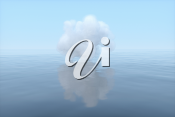 The cloud floating on the lake,peaceful scene,3d rendering.Computer digital drawing.