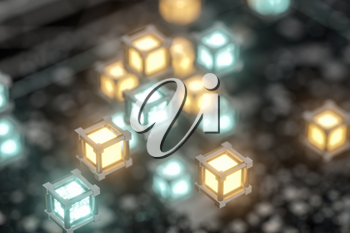 Randomly distributed cubes, Industrial background, 3d rendering. Computer digital drawing.