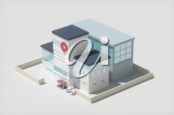 Hospital model with white background,abstract conception,3d rendering. Computer digital drawing.