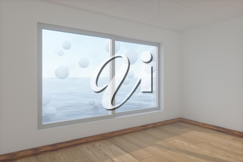 Spheres floating on the sea,empty room,abstract conception,3d rendering. Computer digital drawing.