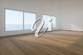 The empty room with wooden floor. Out of the window is the sea. 3d rendering. Computer digital drawing.