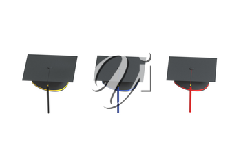 Graduate hat with white background, 3d rendering. Computer digital drawing.