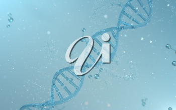 DNA genomes structure with division molecule, 3d rendering. Computer digital drawing.