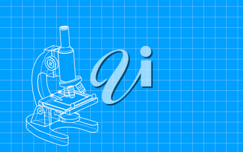Hand-drawn microscope with blueprint style, raster illustration. Computer digital drawing.