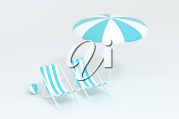 Sunshade, beach chair with orange background, 3d rendering. Computer digital drawing.