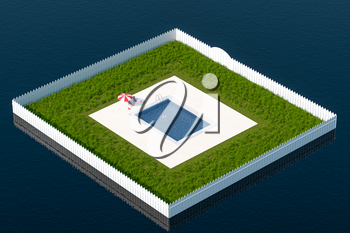 A square swimming pool on the sea, 3d rendering. Computer digital drawing.