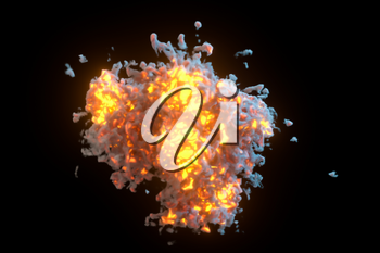 Explosive flame with dark background, 3d rendering. Computer digital drawing.