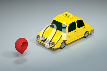 Mini 3D taxi, mini car with yellow color, 3d rendering. Computer digital drawing.