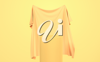 Flowing cloth with yellow background, 3d rendering. Computer digital drawing.