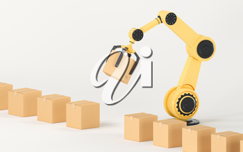 The robotic arm picks up the box, 3d rendering. Computer digital drawing.