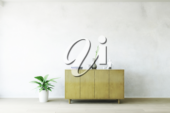 Old Wooden Commode with Accessories near the White Plaster Dirty Wall, Green Plant on the Wooden Floor, Fashion Decor, Living Room Conceptual Style, 3D Rendering Trendy Art Graphic Design.