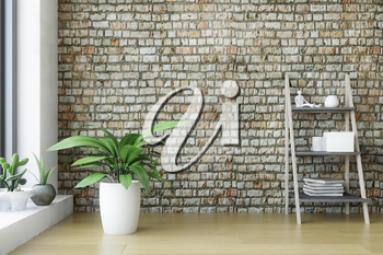 Modern Interior Room with a Wooden Ladder Shelf and Green Plants near the Old Brick Wall with Wooden Floor, Artistic Decor, Fashion Conceptual Style, 3D Rendering Graphic Design