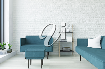 White Contemporary Interior Art Room with Turquoise Sofa, Armchair, Pouf, Wooden Shelf and Plants near the Brick Wall, Elegant Decor, Interesting Fashion Conceptual Style, 3D Rendering Graphic Design