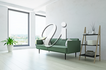 Modern Interior Room with Contemporary Furniture, Green Sofa, Plant and Ladder Shelf near the Old White Wall, Minimalistic Decor, Fashion Style, 3D Rendering Illustration, Contemporary Graphic Design