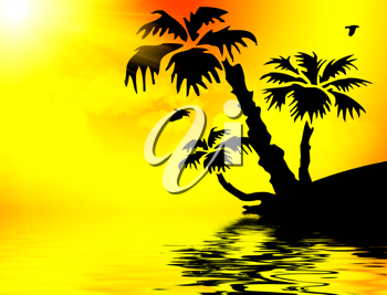 Royalty Free Clipart Image of a Silhouette of a Tropical Scene at Sunset