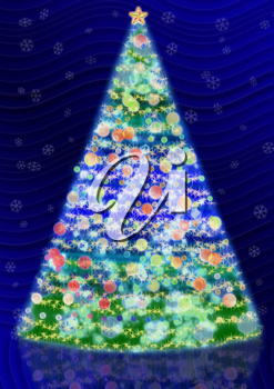 Royalty Free Clipart Image of a Lighted Christmas Tree