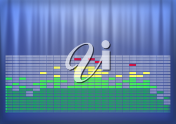 Royalty Free Clipart Image of an Equalizer Chart on a Blended Background
