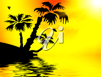 Royalty Free Clipart Image of a Silhouette of a Tropical Island