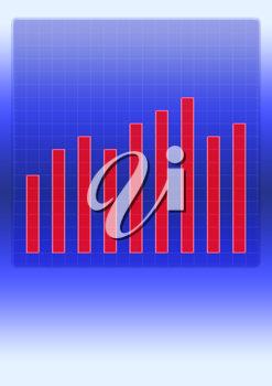 Royalty Free Clipart Image of a Diagram With a Bar Chart Showing Growth