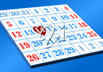 Royalty Free Clipart Image of a Valentines Day on a Calendar