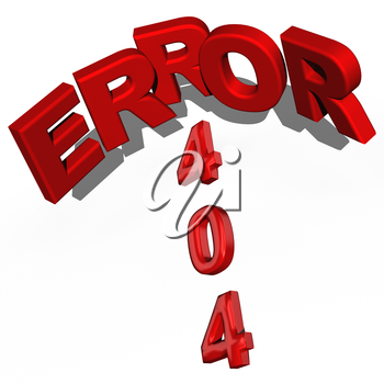 Three-dimensional inscription error 404 isolated on the white