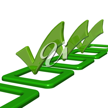 Green glossy Check mark on white background