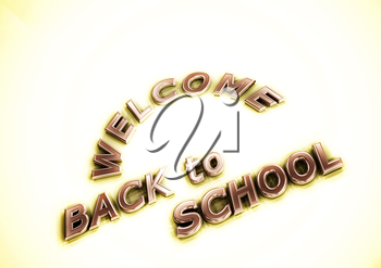 Dimensional inscription Welcome back to school. 3D render.