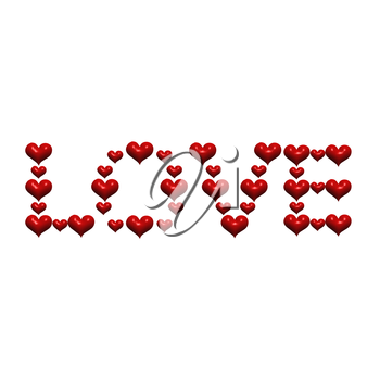Inscription LOVE by red of St. Valentine's Day hearts.