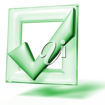 Green symbol of checkbox mark on white background