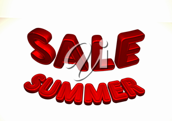 Dimensional inscription of Summer SALE. 3D illustration.