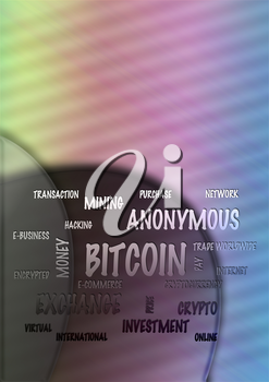 Word Cloud on a abstract background - Bitcoin. 3D illustration.