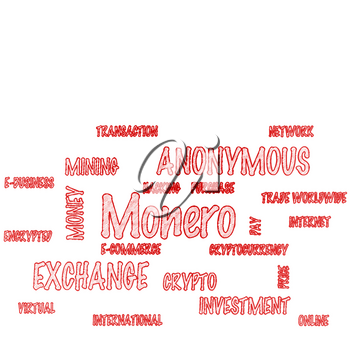 Word Cloud on a white background - Monero. 3D illustration.