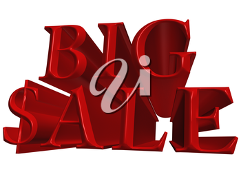 Glossy red three-dimensional inscription Big Sale as background.