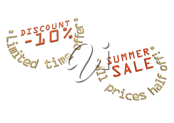 Glossy red three-dimensional inscription Discount as a label