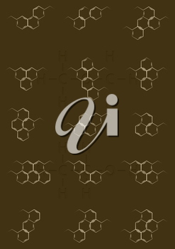 Abstract background with structural chemical formulas of benzene rings