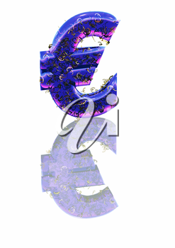 Big three-dimensional blue euro sign with reflection.