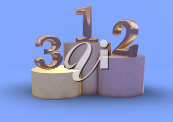 Winning 3D render podium with figures.  Isolated over white.