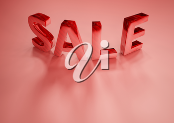 The dimensional word sale on a red background