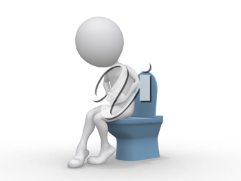 Royalty Free Clipart Image of a Figure with a Stomach Ache