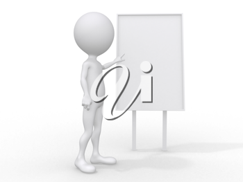 Royalty Free Clipart Image of a 3D Person Giving a Business Presentation