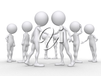 Royalty Free Clipart Image of People Shaking Hands With Others Behind Them